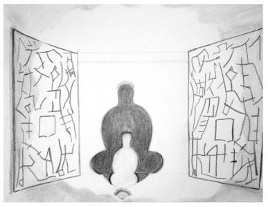 """Vitalize the Mind"" wall panels beside the shadow meditator."